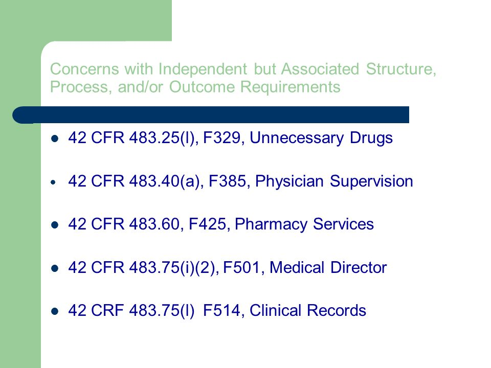 42 CFR 483.25(l), F329, Unnecessary Drugs