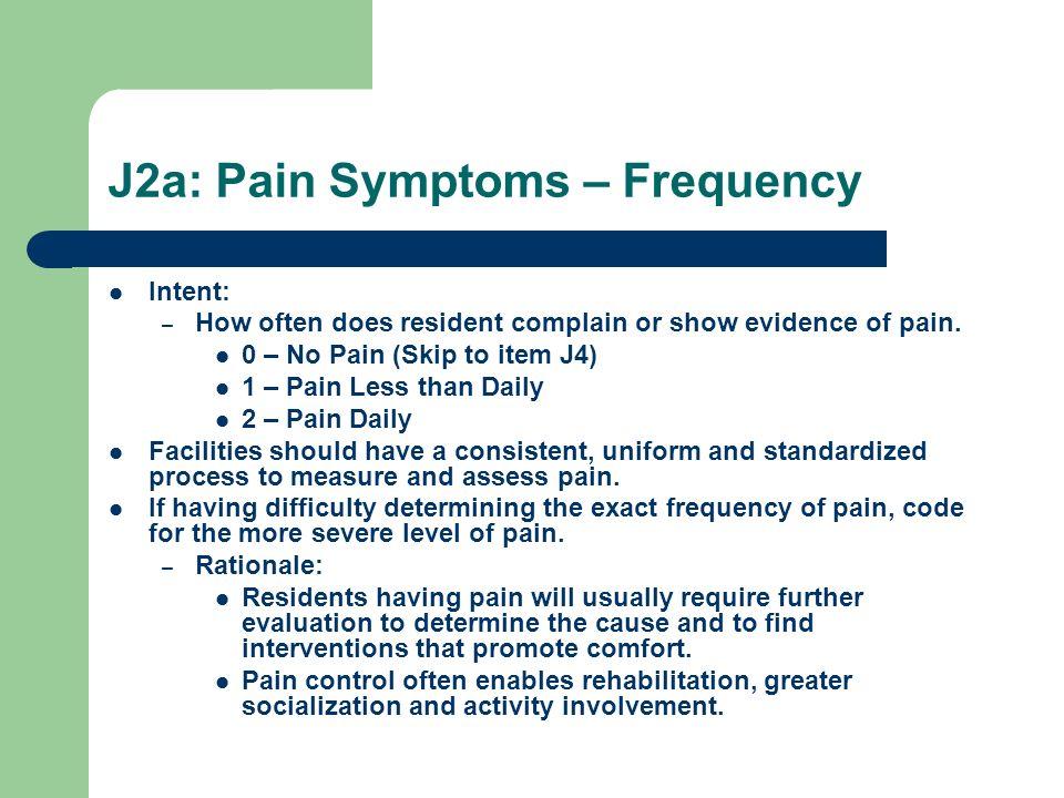 J2a: Pain Symptoms – Frequency