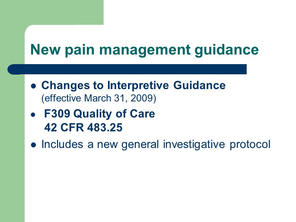 New pain management guidance