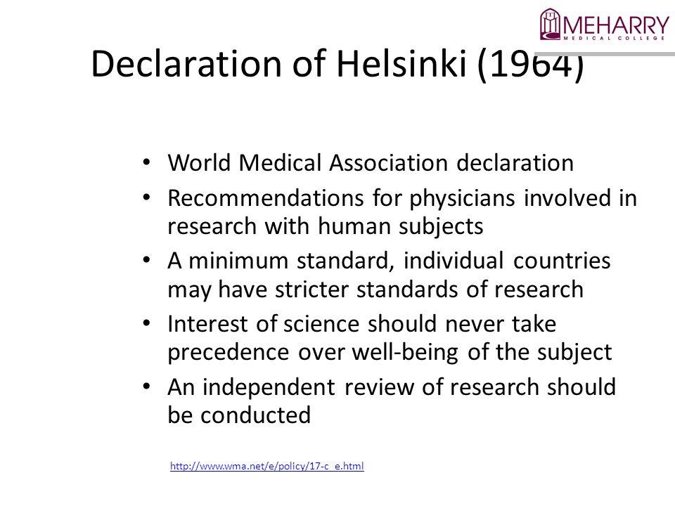 Declaration of Helsinki (1964)