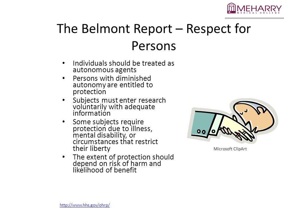 The Belmont Report – Respect for Persons