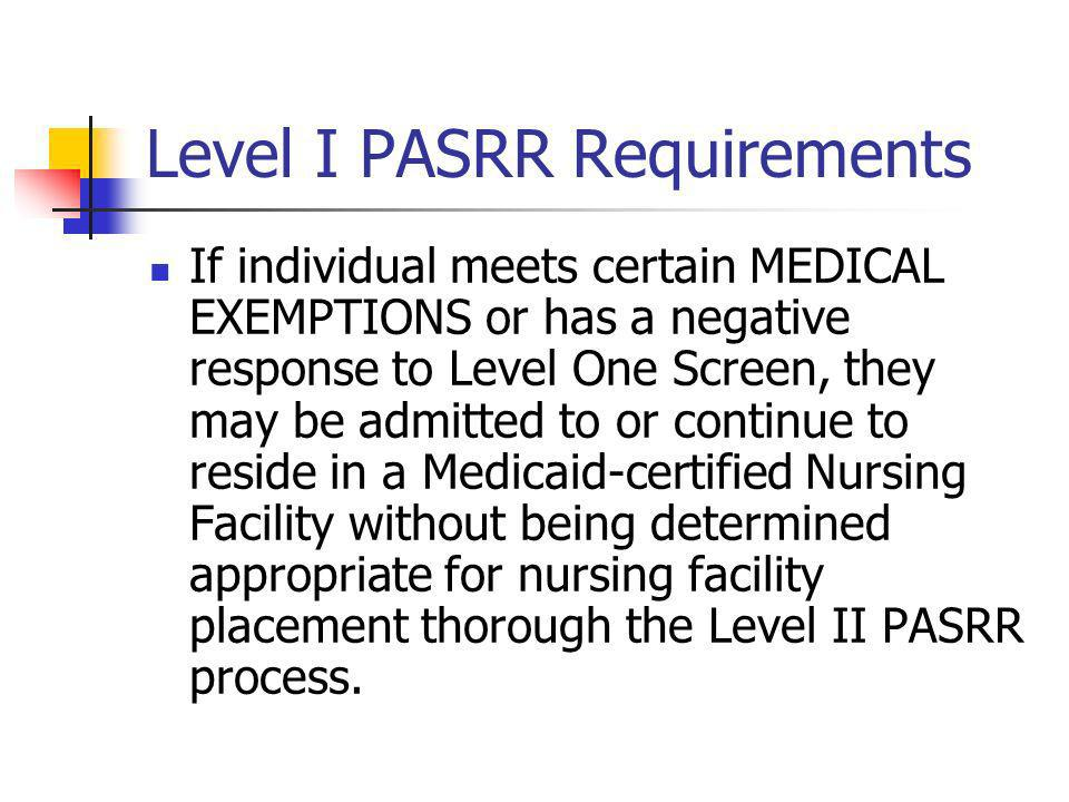 Level I PASRR Requirements