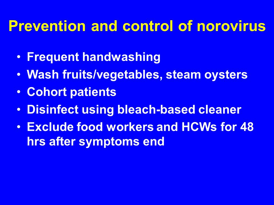 Prevention and control of norovirus