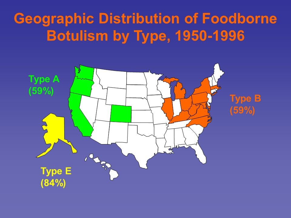 Geographic Distribution of Foodborne Botulism by Type, 1950-1996