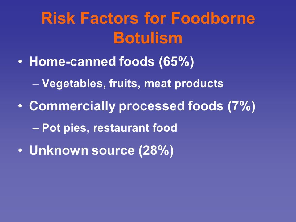 Risk Factors for Foodborne Botulism