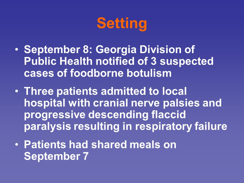 Setting September 8: Georgia Division of Public Health notified of 3 suspected cases of foodborne botulism.