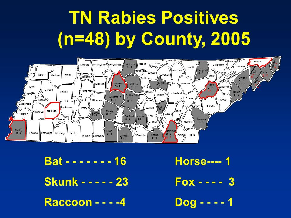 TN Rabies Positives (n=48) by County, 2005