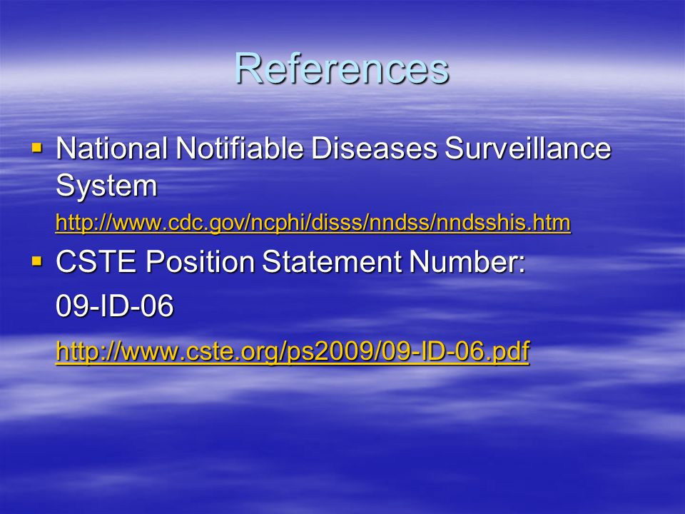 References National Notifiable Diseases Surveillance System