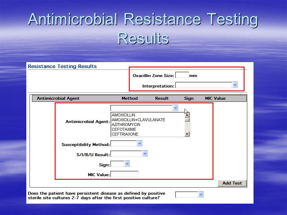 Antimicrobial Resistance Testing Results