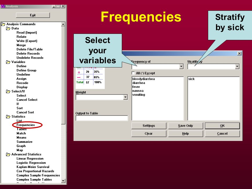 Frequencies Stratify by sick Select your variables