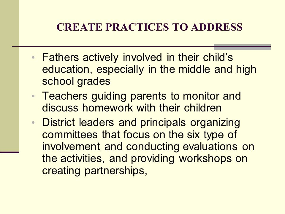 CREATE PRACTICES TO ADDRESS