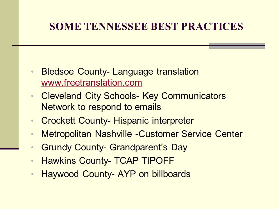 SOME TENNESSEE BEST PRACTICES