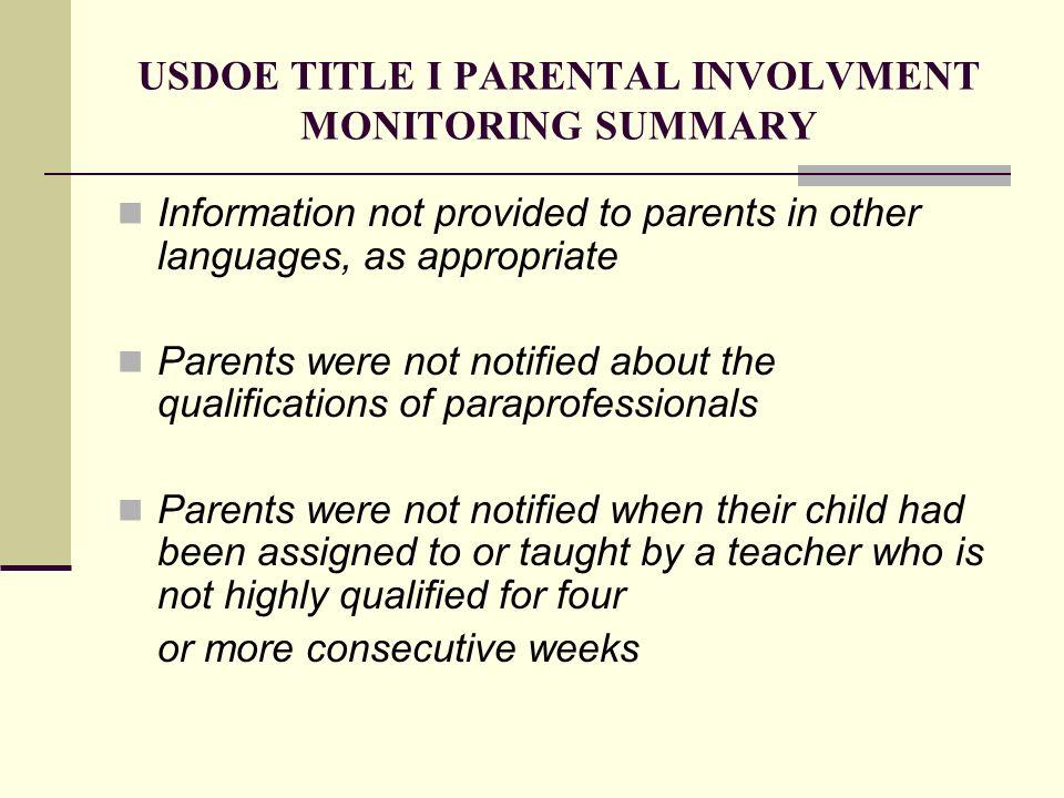 USDOE TITLE I PARENTAL INVOLVMENT MONITORING SUMMARY