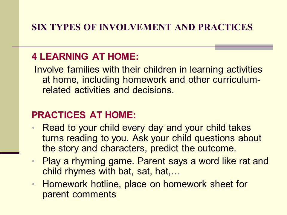 SIX TYPES OF INVOLVEMENT AND PRACTICES