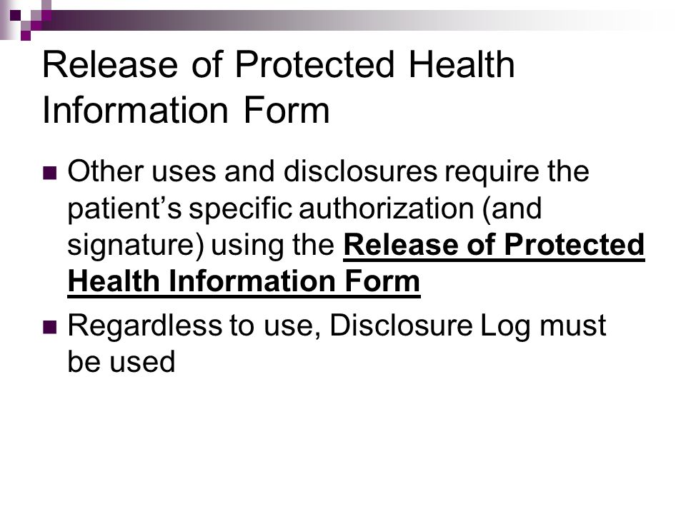 Release of Protected Health Information Form