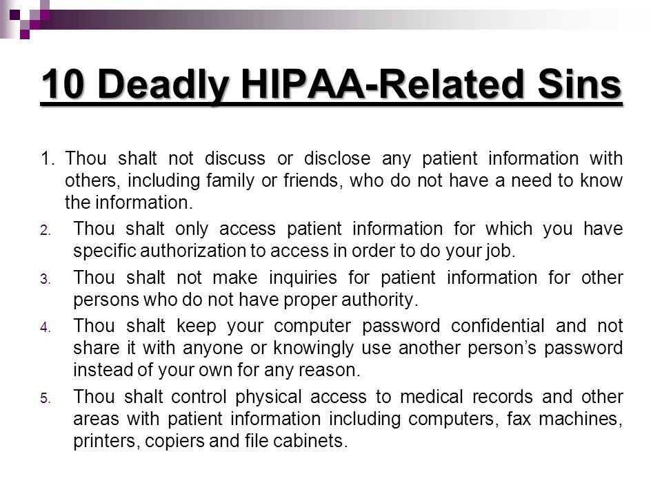 10 Deadly HIPAA-Related Sins