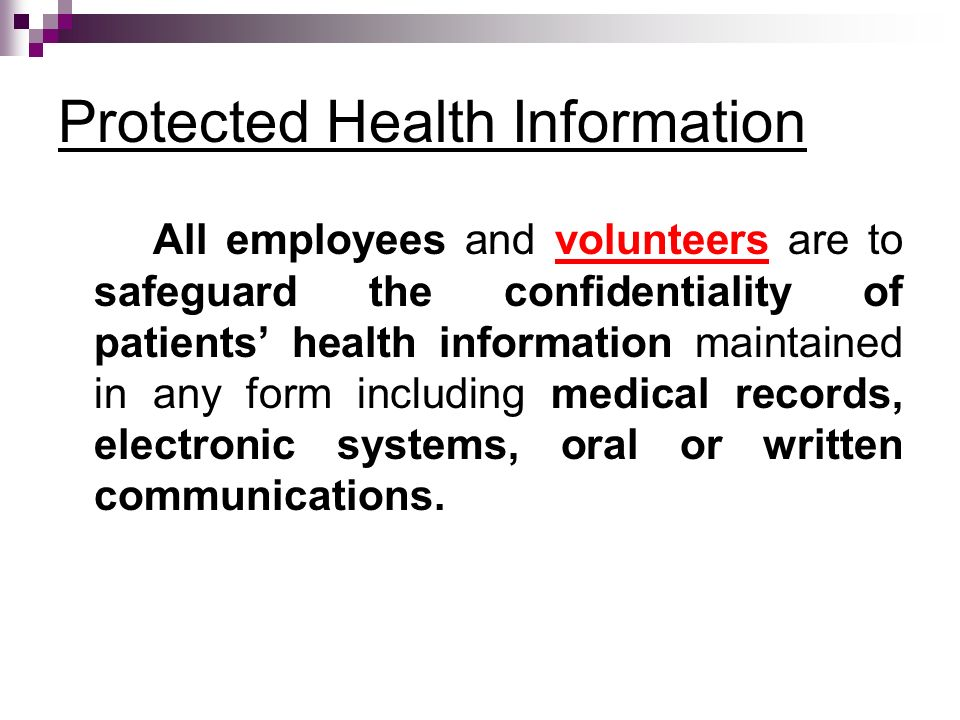 Protected Health Information