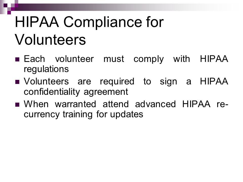HIPAA Compliance for Volunteers