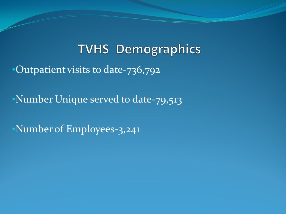 TVHS Demographics Outpatient visits to date-736,792