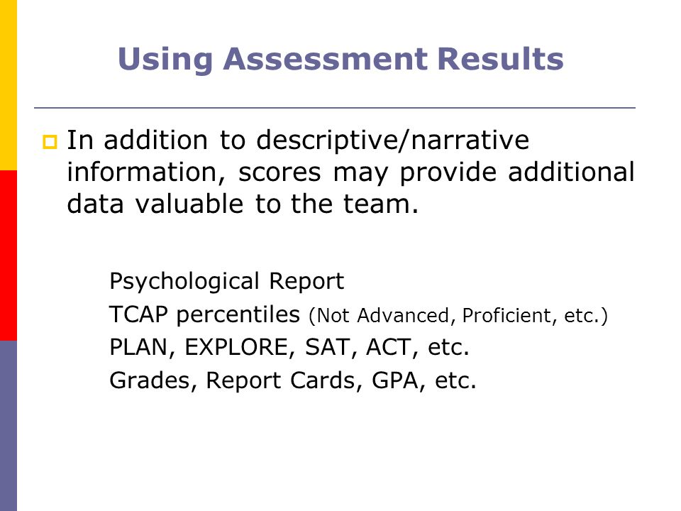 Using Assessment Results