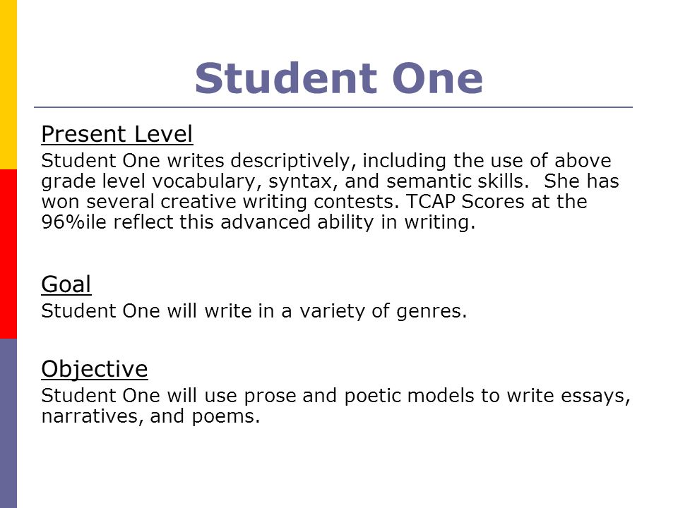 Student One Present Level Goal Objective