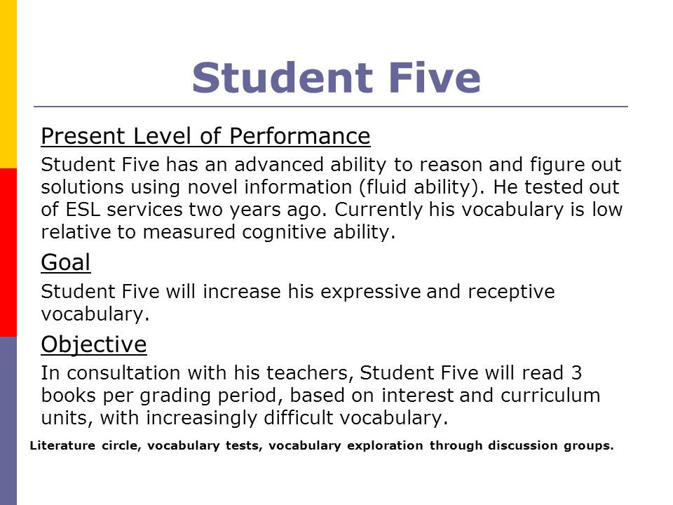 Student Five Present Level of Performance Goal Objective