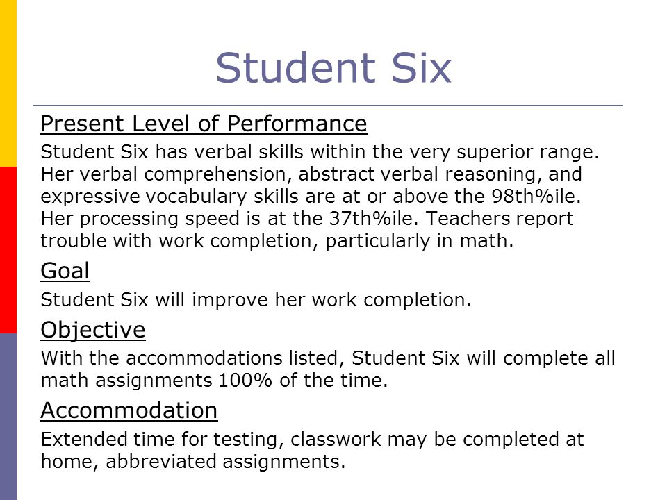 Student Six Present Level of Performance Goal Objective Accommodation