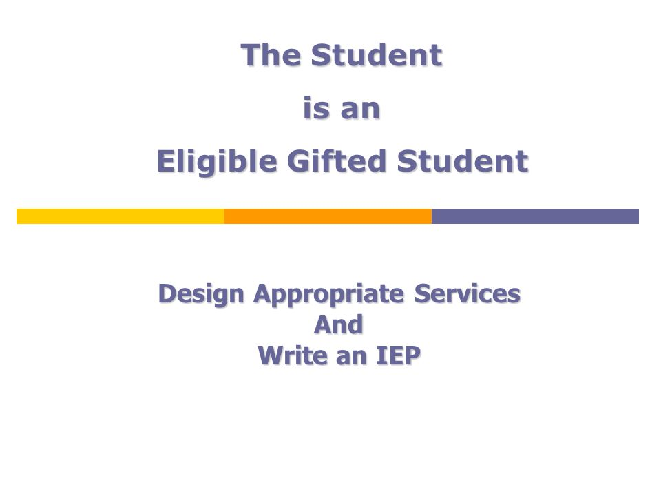Eligible Gifted Student Design Appropriate Services