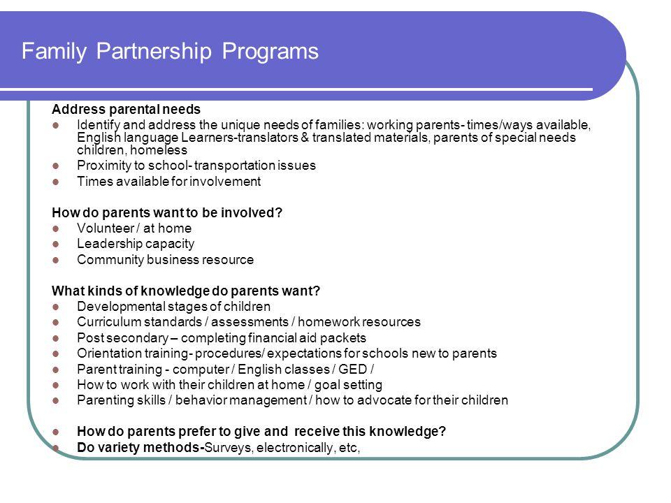 Family Partnership Programs
