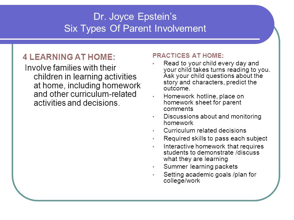 Dr. Joyce Epstein's Six Types Of Parent Involvement