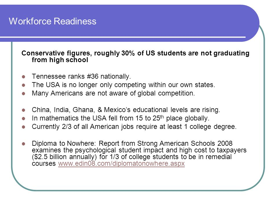 Workforce Readiness Conservative figures, roughly 30% of US students are not graduating from high school.
