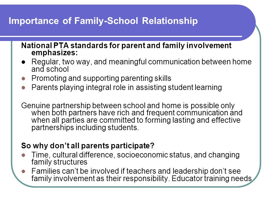 Importance of Family-School Relationship