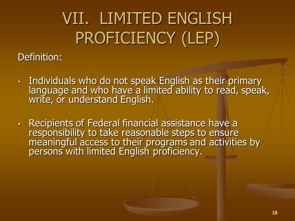 VII. LIMITED ENGLISH PROFICIENCY (LEP)