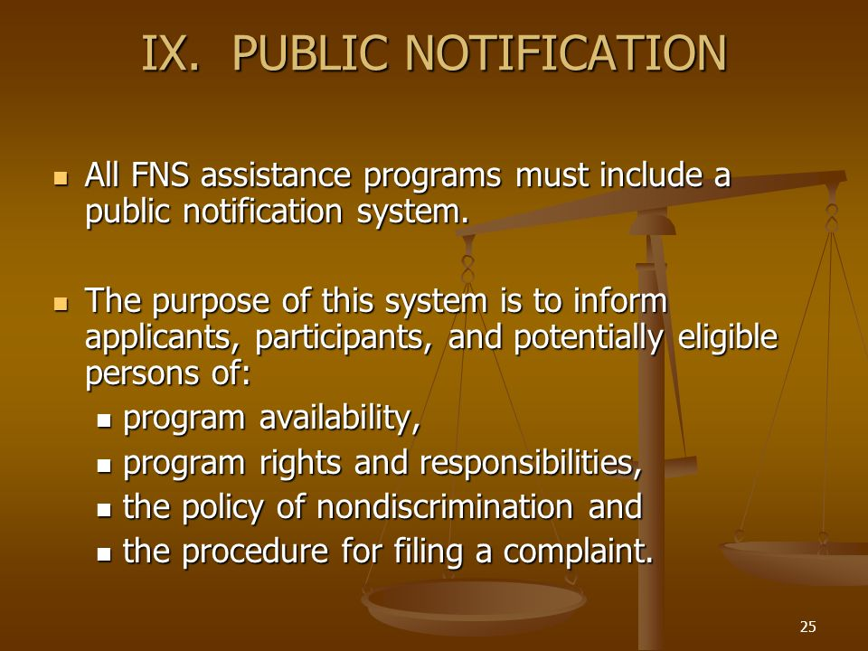IX. PUBLIC NOTIFICATION