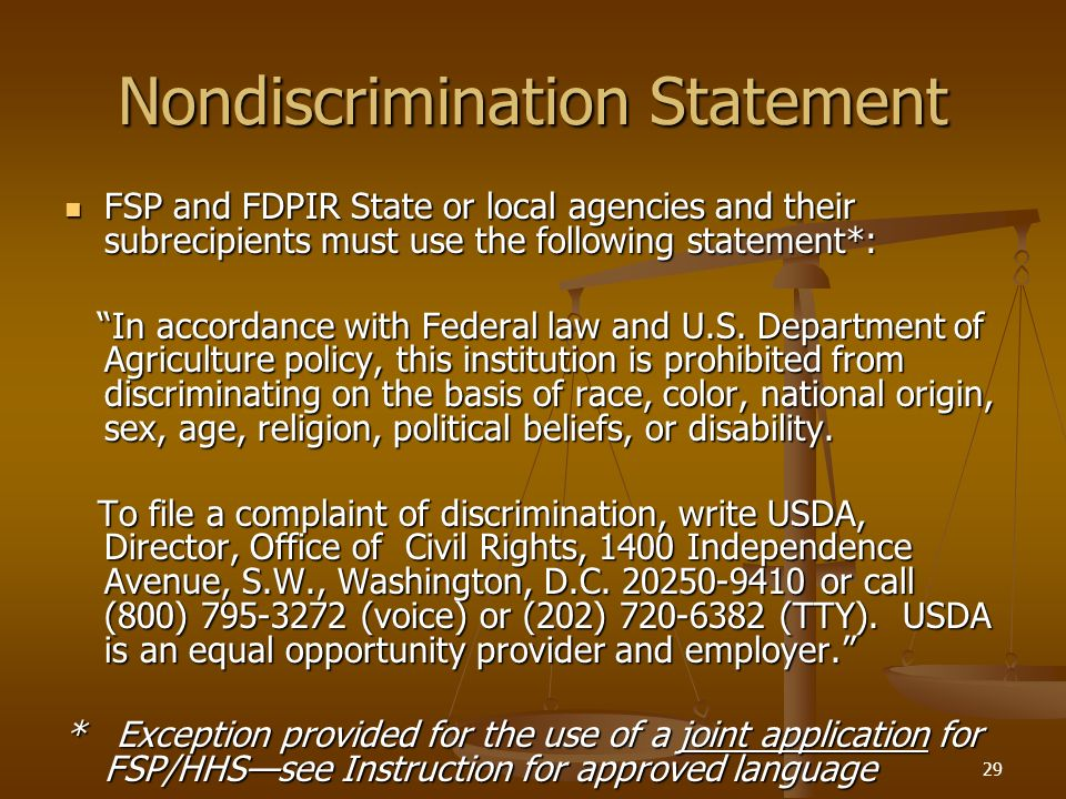 Nondiscrimination Statement