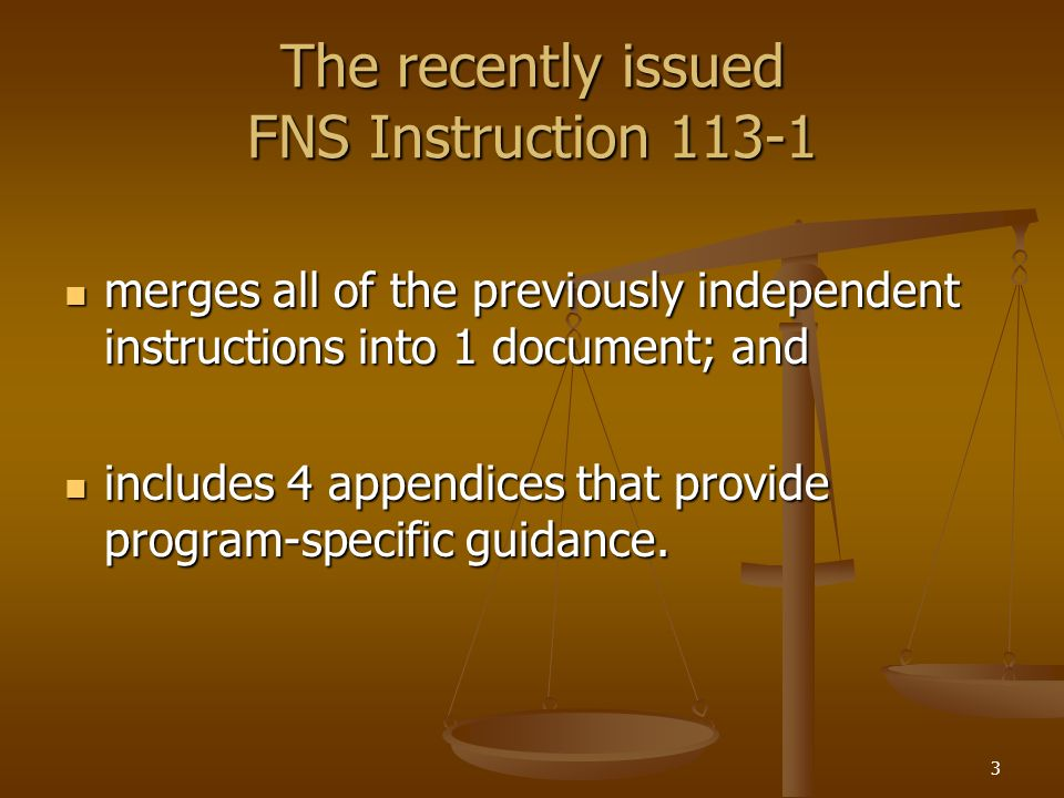 The recently issued FNS Instruction 113-1