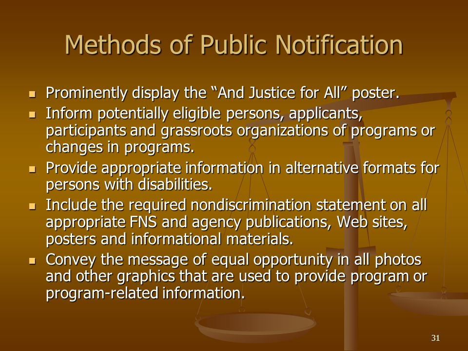 Methods of Public Notification