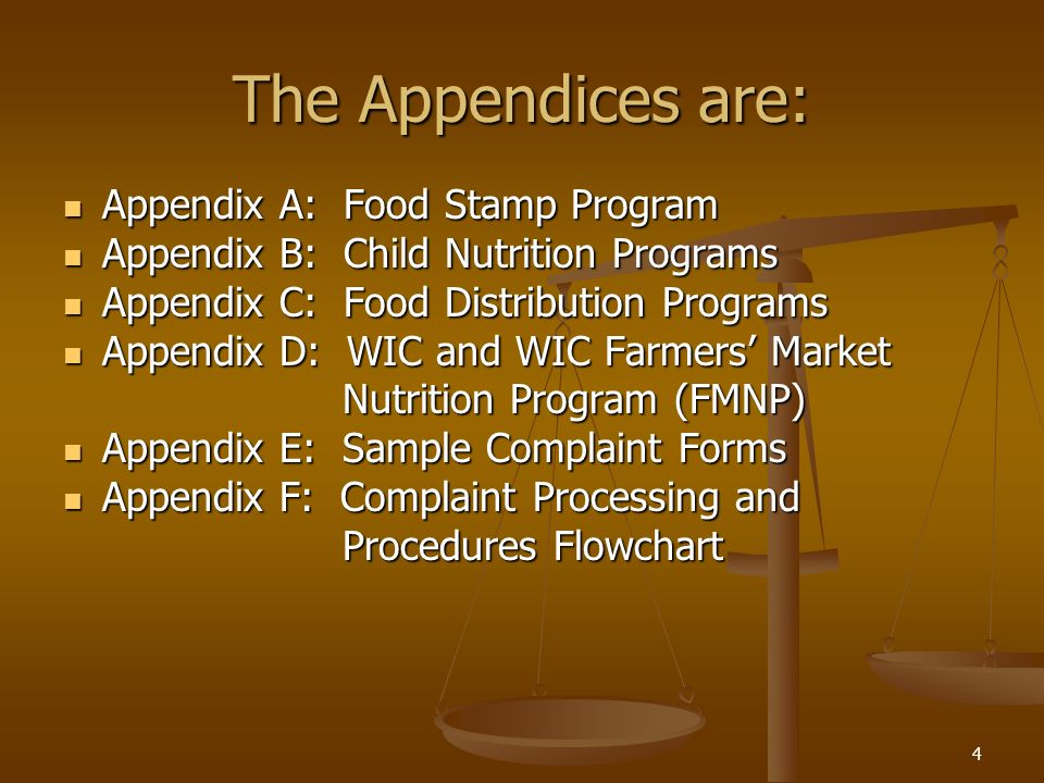 The Appendices are: Appendix A: Food Stamp Program