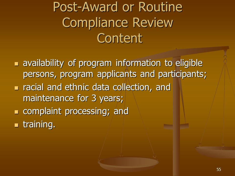 Post-Award or Routine Compliance Review Content