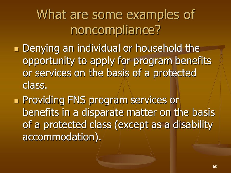 What are some examples of noncompliance