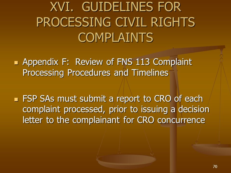 XVI. GUIDELINES FOR PROCESSING CIVIL RIGHTS COMPLAINTS