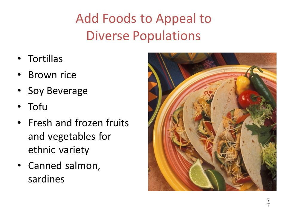 Add Foods to Appeal to Diverse Populations