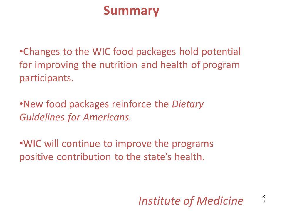 Summary Institute of Medicine