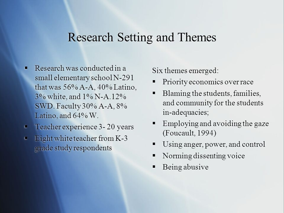 Research Setting and Themes