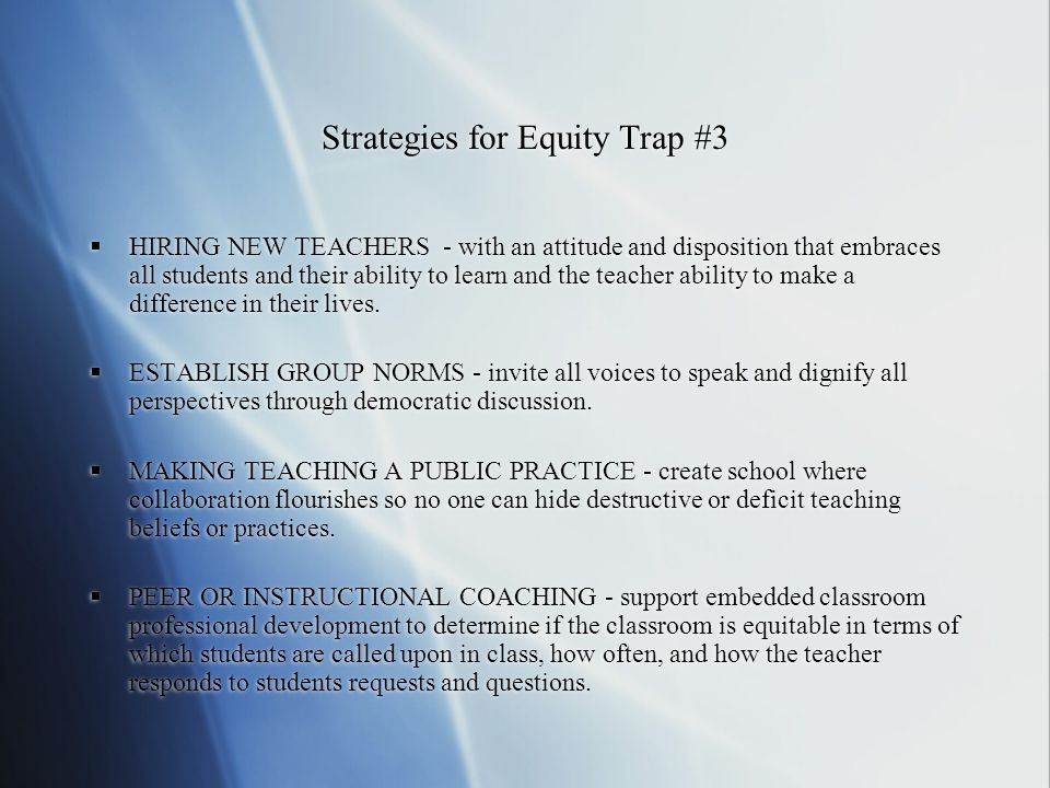 Strategies for Equity Trap #3