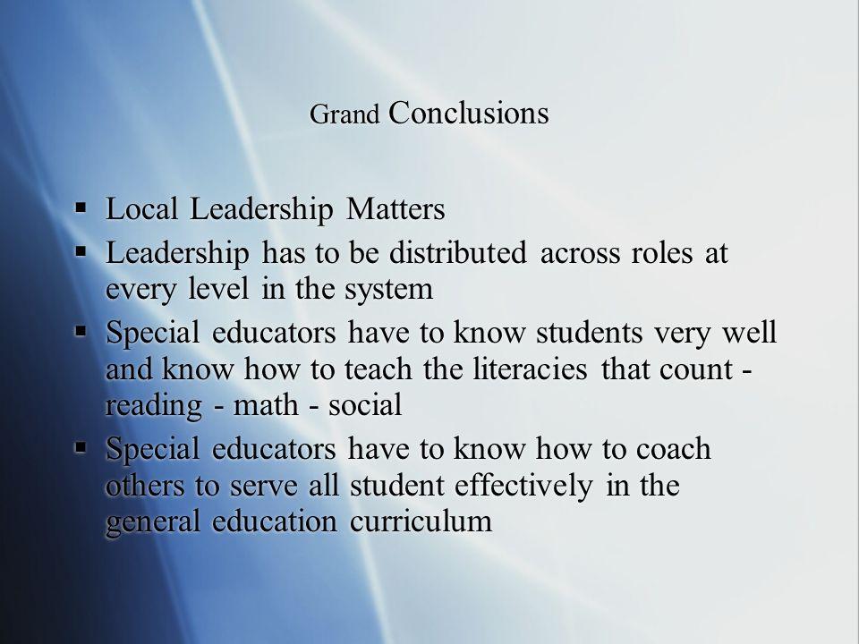 Local Leadership Matters