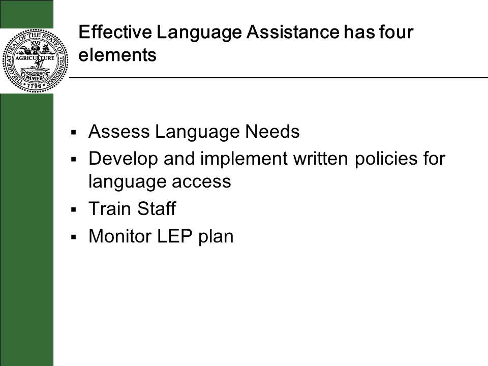 Effective Language Assistance has four elements