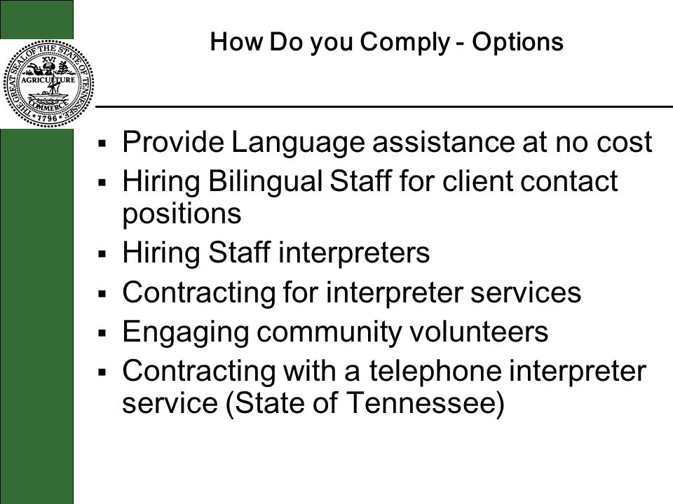 How Do you Comply - Options