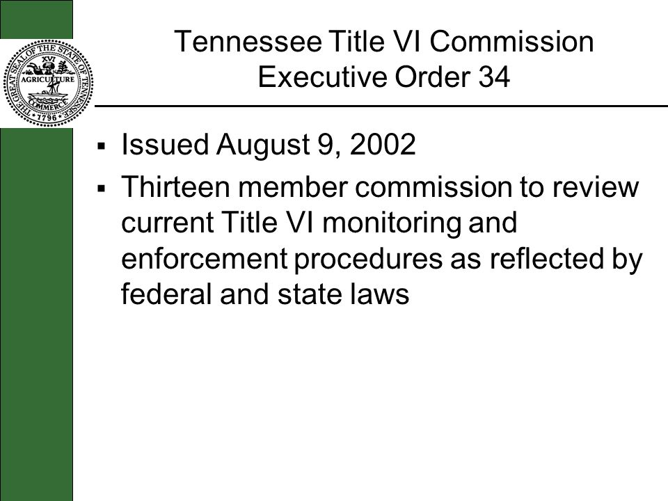 Tennessee Title VI Commission Executive Order 34