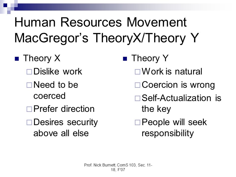 Human Resources Movement MacGregor's TheoryX/Theory Y